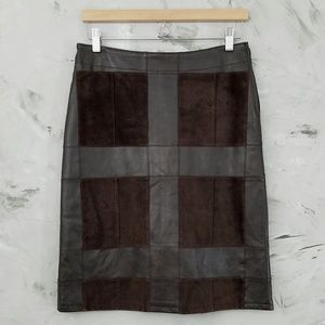 INC. Brown Suede & Leather Patchwork Pencil Skirt